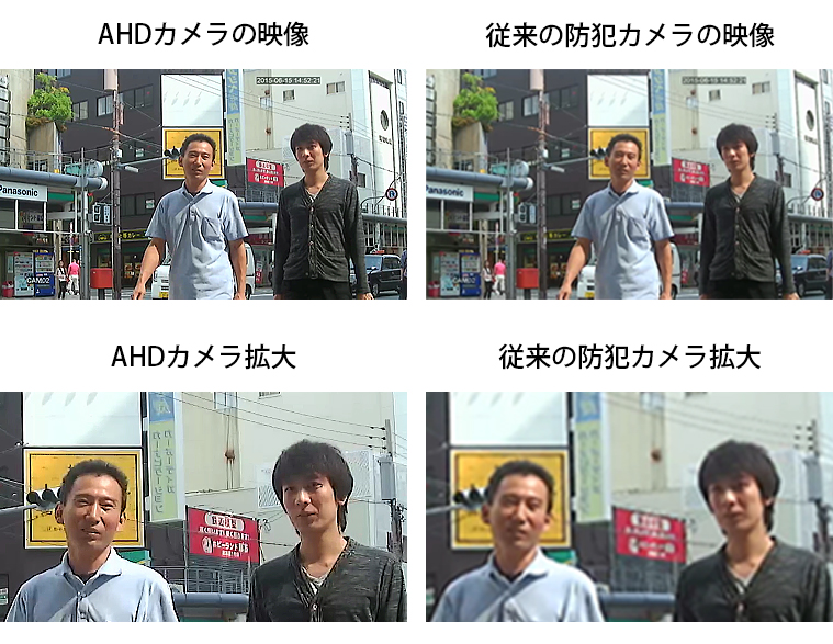AHD防犯カメラと従来の防犯カメラの比較映像