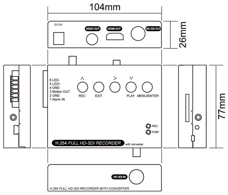 SDカードスロット搭載HD-SDIレコーダー寸法