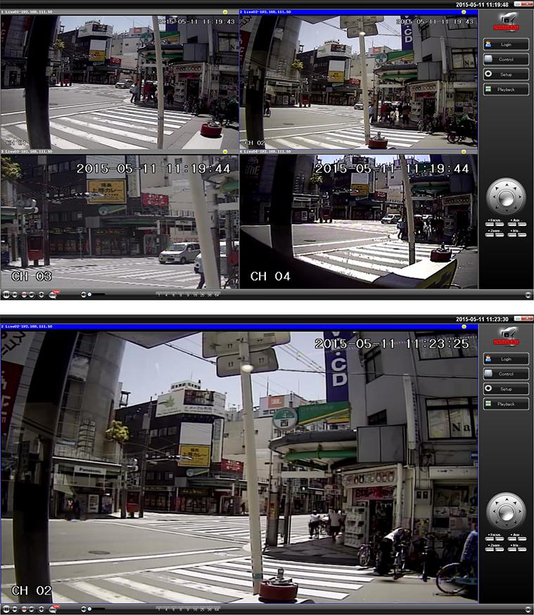 パソコンからの防犯カメラ映像